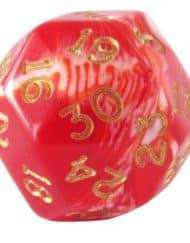 30 Vlakken Dobbelsteen Gemêleerd Red Gold 30mm