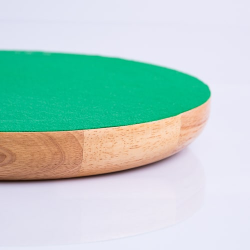 Dobbelpiste Dobbelbak Rond Blank Hout met Groen Vilt 35cm kopen