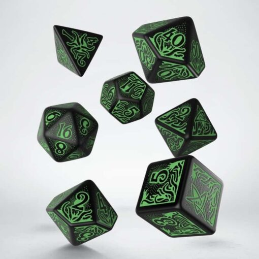 Polydice Set Q-Workshop Call of Cthulhu 7th Edition Black Green