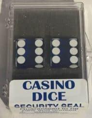 Precision Casino Dobbelstenen Blauw met Wit 19mm