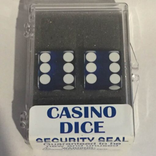 Precision Casino Dobbelstenen Blauw met Wit 19mm