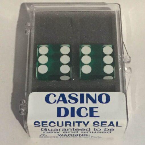 Precision Casino Dobbelstenen Groen met Wit 19mm