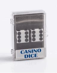 Precision Casino Dobbelstenen Wit met Zwart 19mm Set van 2