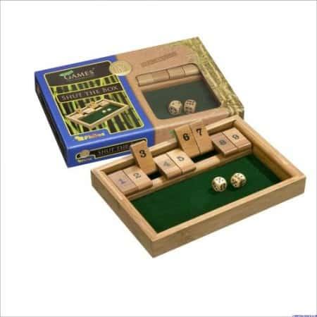 Shut the Box 9 Dobbelspel 25x17x3cm Eco-vriendelijk Bamboe