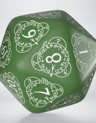 20 Vlakken Dice Level Counter Green White Spindown 30mm