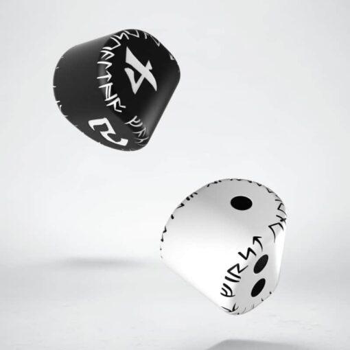 D2 + D4 Runic Dice Set 1x White&Black D2 + 1x Black&White D4