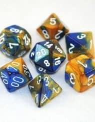 Polydice 7 Dobbelstenenset Gemêleerd Blauw Goud met Wit