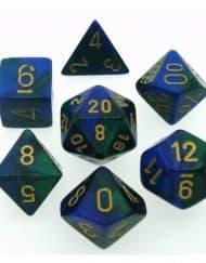 Polydice 7 Dobbelstenenset Gemêleerd Blauw Groen met Goud