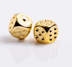 6 Vlakken Dobbelstenen Gold-Plated Metallic 16mm
