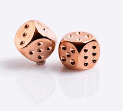 6 Vlakken Dobbelstenen Verkoperd Metallic 16mm