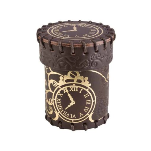 Dobbelbeker Steampunk Brown Golden Leather Dice Cup Q-Workshop