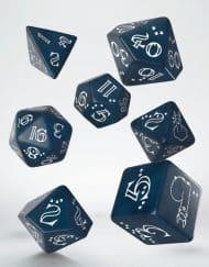 Polydice Set Q-Workshop Shimmering Llama Dice Set Glittering Dark Blue White