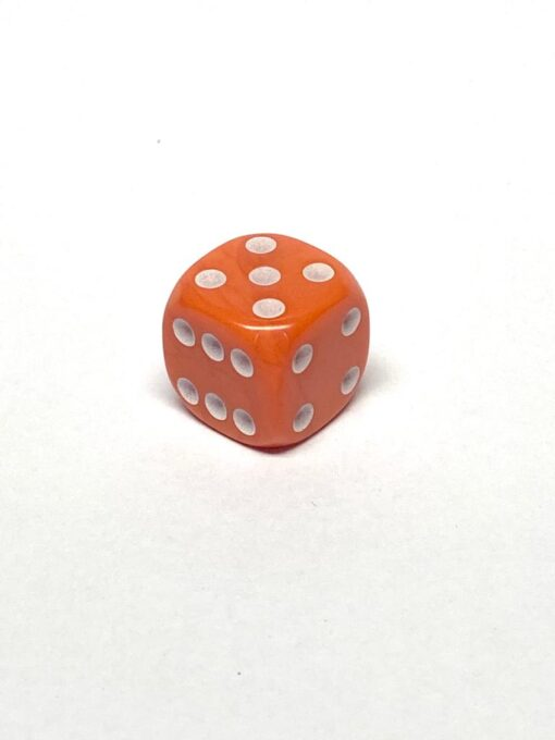 6 Vlakken Dobbelsteen Oranje met Witte Stippen 16mm