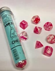 Polydice 7+1 Dobbelstenenset Lab Dice Gemêleerd Clear Pink White