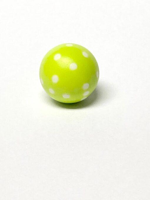 Ronde Dobbelsteen 22mm Licht Groen met Wit