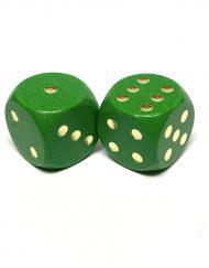 6 Vlakken Dobbelstenen Hout Groen Goud 20mm 2 st.