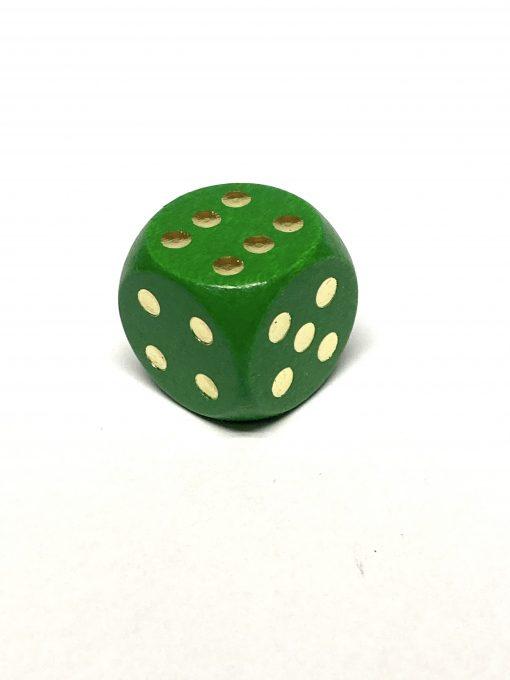 6 Vlakken Dobbelstenen Hout Groen Goud 20mm