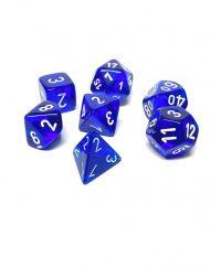 Polydice 7 Dobbelstenenset Transparant Blauw