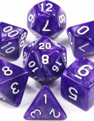 Polydice 7 Dobbelstenenset Paars Wit in Dice Bag