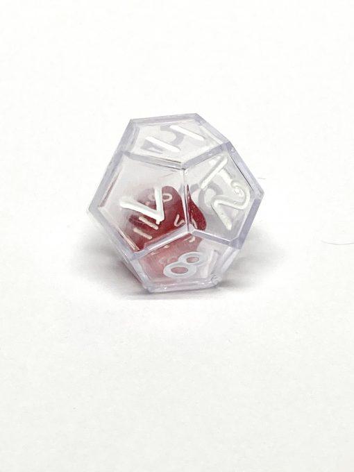 12 Vlakken Dubbele Dobbelsteen Transparant Rood 23mm