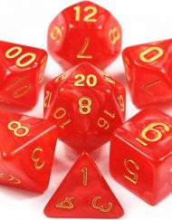 Polydice 7 Dobbelstenenset Rood Goud in Dice Bag