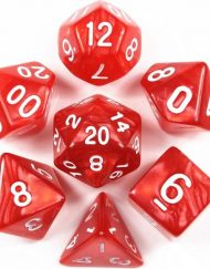 Polydice 7 Dobbelstenenset Rood Wit in Dice Bag