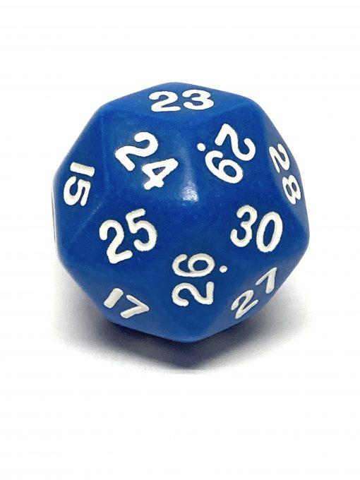30 Vlakken Dobbelsteen Blauw met Witte Cijfers 33mm Spindown