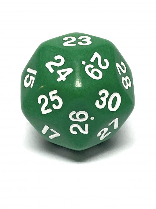 30 Vlakken Dobbelsteen Groen met Witte Cijfers 33mm Spindown